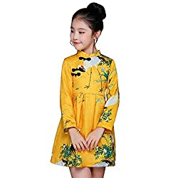 Chinese Style Cheongsam Kids Girls Long Sleeve Crane Print Dresses Qipao Clothes Baby Princess Dress