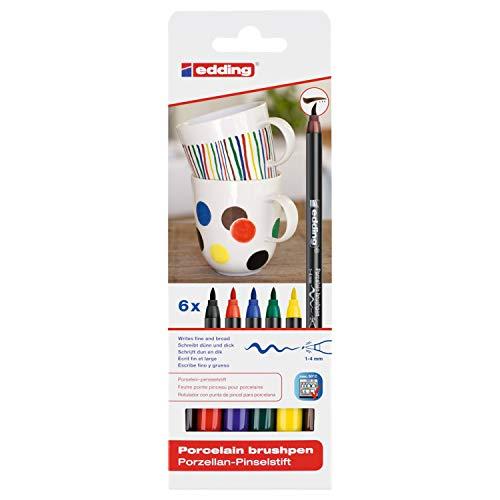 edding ED4200-6 Porzellan Pinselstift (auch für Glas und Keramik). Standardfarben mit 6 Stiften. Zum spülmaschinenfesten bemalen und beschriften von Geschirr, Tassen und Gläsern.