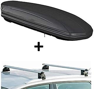 Dachbox VDPMAA320 320Ltr abschließbar schwarz matt + Dachträger CRV107A kompatibel mit Audi A4 Kombi (B8) (5 Türer) 2008 2015