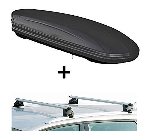 Dachbox VDPMAA320 320Ltr abschließbar schwarz matt + Dachträger CRV107A kompatibel mit Dacia Lodgy (5 Türer) ab 2012