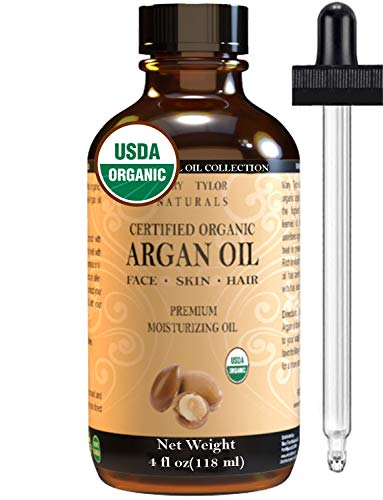 Certified Organic Argan Oil Large 4 oz, Virgin, Cold Pressed, Unrefined 100% Pure by Mary Tylor Naturals. All Natural Anti-Aging Moisturizer Treatment for Face, Skin Hair & Nails