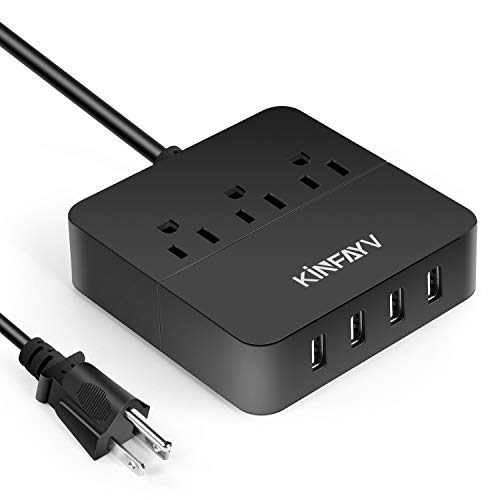Kinfayv Power Strip with 4 USB Ports & 3 Outlets - Portable USB Strip Surge Protector Desktop Charging Station USB Power Cord with On/Off Switch & 5 Feet Cord for Travel, Hotel, Office