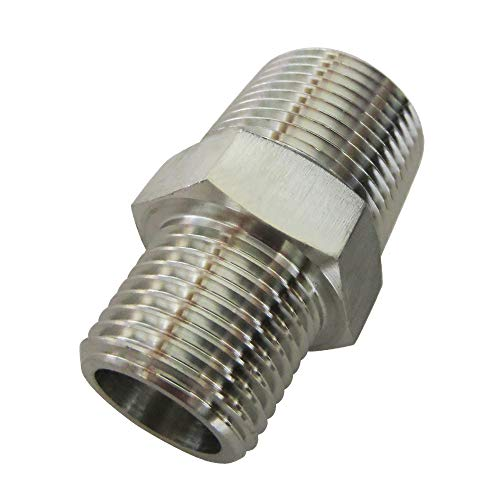 Metalwork Stainless Steel 316 Forged Pipe Fitting, 3/8 NPT Male x 1/4 NPT Male Reducing Hex Nipple, Straight Pipe Connector 2000psi (1 Pc)