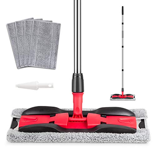 MEXERRIS Microfiber Floor Mop for Hardwood Cleaning 360 Rotating Dust Wet Mop with Aluminum Extended Handle, 4 Reusable Washable Mop Pads Cloth and 1 Scraper