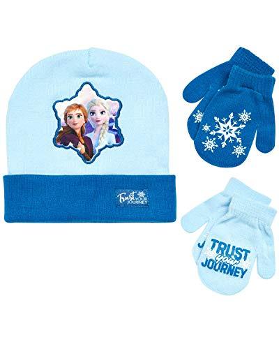Disney Girls Frozen Hat and 2 Pair Gloves/Mittens Cold Weather Set, Frozen Mitten 2-4, Size Age 2-4