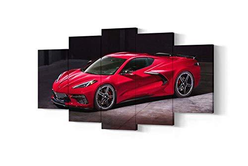 KOPASD So Crazy Art - Coche Deportivo Corvette Cuadros Decoracion de Pared 5 Piezas Modernos Mural Fotos para