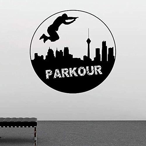 Extrme Sport Vinyl Wandtattoo Parkour Wandaufkleber Straße Traceur Sport Wandfenster Poster Parkour Liebhaber Geschenk 57X57Cm