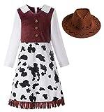 ReliBeauty Cowgirl Cowboy Kostüm Mädchen Kinder Kleid mit Hut Karneval Faschingskostüme Kinder,120
