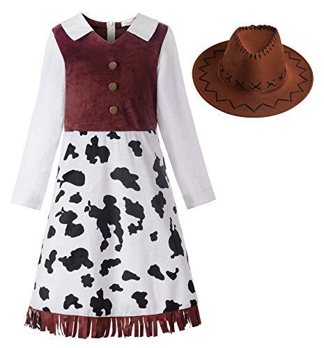 ReliBeauty Cowgirl Cowboy Kostüm Mädchen Kinder Kleid mit Hut Karneval Faschingskostüme Kinder,140