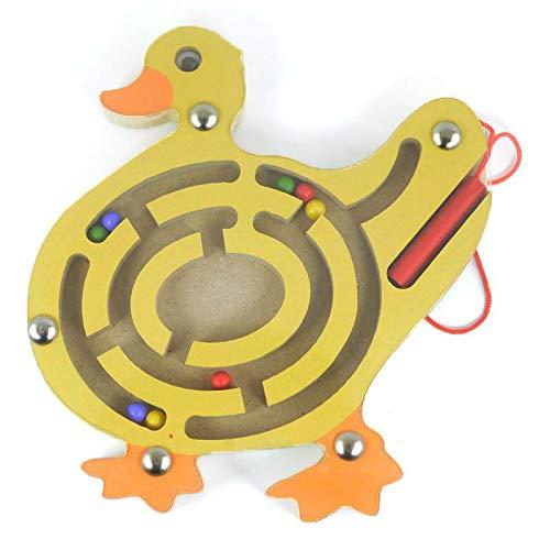 HappyToy Tier Mini Wooden Runde Magnetische Wand Nummer Maze Interaktive Labyrinth Magnet Perlen Labyrinth auf Brettspiel Stadt Verkehr Eduactional Handcraft Toys (Ente)