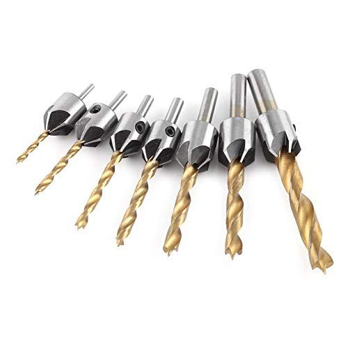 Trapano svasatore, HSS, 5 flauto, set di punte a testa svasata, avvitatore, per legno, metallo, alluminio, countersink, con chiave a brugola, 10 dimensioni (set da 7 pezzi + piccola chiave (3-10 mm)