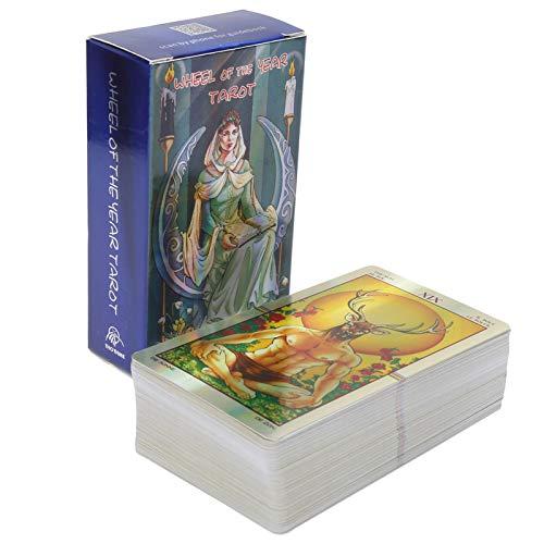 Rodipu 78Pcs Tarotkarten Deck | Schicksals Weissagung Tarotkarten | Geheimnisvolle Schicksalsvorhersagekarten Hologramm Papier Brettspiel Party Spielkarten für Kinder/Erwachsene/Anfänger