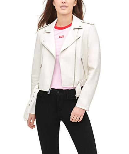 Levi's Chaqueta de motocicleta de piel sintética con cinturón para mujer (tallas estándar y grandes) - blanco - XL