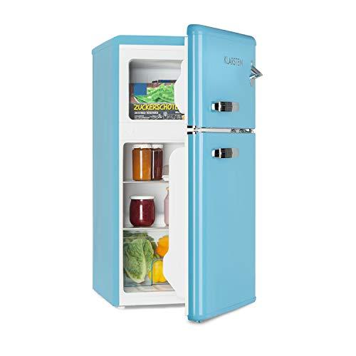 Klarstein Irene - Kühl- & Gefrierkombination, Retro Kühlschrank, 61 L Kühlfach, 24 L Gefrierfach, 40 dB leise, 2 Kühlebenen, 2 Türablagen, für Kleinfamilien und Singles, blau