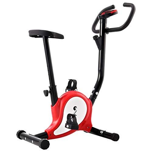 Festnight Bicicleta Estática con Resistencia de Cinta Rojo y Blanco de Metal y Plástico 64 X 41 X 104 Cm, Peso Máximo del Usuario 100 kg