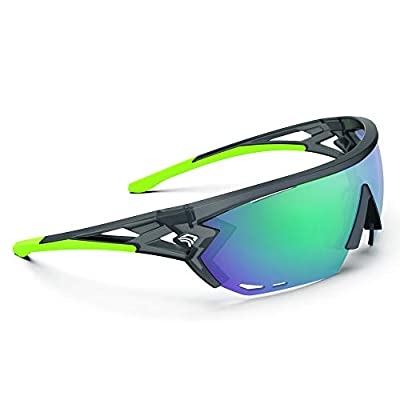 TOREGE Sports Sunglasses with 1.4mm Polarized Lens For Men Women Cycling Running Fishing Driving Golf Glasses TR18 Eagle-s (Matte Black&Green&Green Lens)
