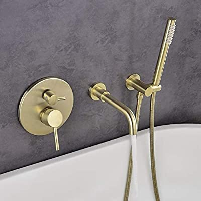 JinYuZe 3 Hole Wall Mount Widespread Bathroom Waterfall Bathtub Faucet Mixer Taps with Hand Shower (Brushed Gold)