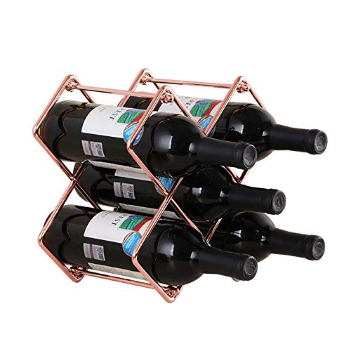 SPDYCESS Weinregal Metall für 5 Flaschen Weinständer Weinhalter Stapelbar für Weinflaschen Oder Andere Getränke, Fertig Montiert, Einfach Anzubringen (Rose Gold)