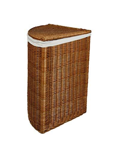 Animal-design Hoekwasmand van wilgentenen wasmand met deksel en wasbare stoffen inzetstuk wasverzamelaar kledingkist opbergkist Größe 2 naturel