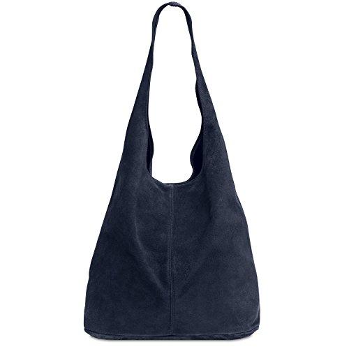 Caspar TL767 großer Damen Leder Shopper, Farbe:dunkelblau, Größe:One Size