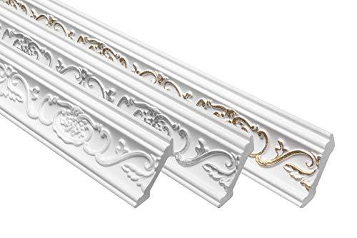 Marbet Deckenleiste B-06 weiß aus Styropor EPS - Stuckleisten gemustert, im traditionellen Design - (20 Meter Sparpaket) Styroporprofil Winkelprofil Wandprofil