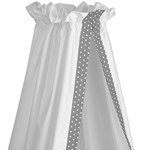 Sugarapple Himmel für Babybetten, Betthimmel Baby für Kinderbetten, grau mit weißen Sternen, 100% Öko-Tex Baumwolle, 200x150 (BxH) cm