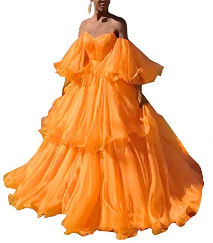 Mauwey Women's Bell Sleeve Long Prom Dress Off The Shoulder Wedding Evening Gown 20W Orange