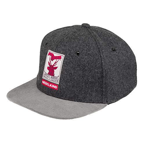 "Nebelkind ""The Stag Snapback-Cap grau Filz Matchbox-Design OneSize Unisex"
