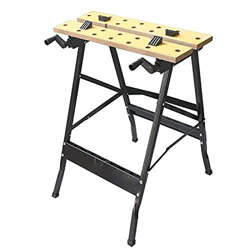 Taller Plegable Reparación Tabla De Herramientas Trestle Tienda Multifunción Tabla Trabajo Aserraza Sawhorse Quick Clamp Pegs Titulares Herramientas Workbench Vice Table Table Carpenter Builder,Negro