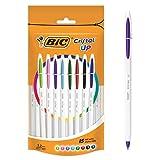 BIC Cristal Up - Bolígrafos de punta redonda (15 unidades), varios colores