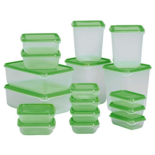 Ikea Pruta Food Container 601.496.73, Set of 17, Green