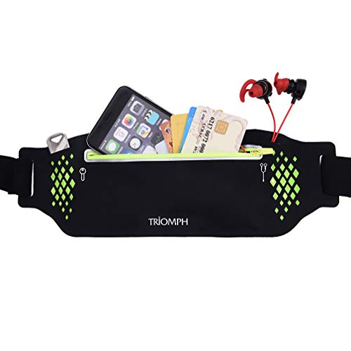 Triomph Running Belt, Running Fanny Pack for Hiking, Water Resistant Runners, Adjustable Belt for iPhone Xs Max, XR and Any Large Smartphone, 2 Pockets w/Reflective Zippers, Earphone Hole