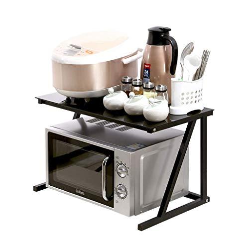ZGQA-AOC Estante de cristal Negro encimera de la cocina microondas horno rack rack de cocina de arroz del estante de la especia de almacenamiento en rack de almacenamiento en rack multifunción (color: