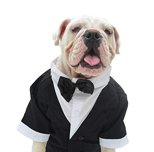 Lovelonglong Bulldog Costume Dog Suit Formal Tuxedo with Black Bow Tie Wedding Clothes for Pugs/French Bulldog/English Bulldog/American Pit Bull Black B-XL