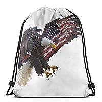 巾着袋アメリカンイーグルスフラッグプルストリングバッグ収納ジムピクニック