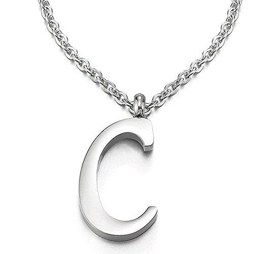 COOLSTEELANDBEYOND Nome Iniziale Lettera di Alfabeto C Ciondolo, Collana con Pendente Croce da Donna Uomo, Acciaio, 50cm Corda Catena