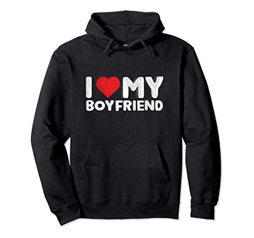 I Love My Boyfriend Cute I Heart My Boy Friend BF Funny Pullover Hoodie
