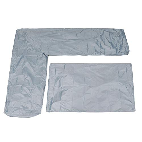 DyNamic 2Pcs Wasserdichte L Shape Corner Garden Möbel Sofa Tisch Cover Rattan Protektor - Grau