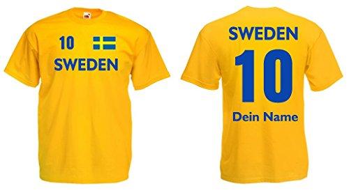 Sweden Trikot mit Wunschname und Wunschnummer von S - 3XL g-xxl