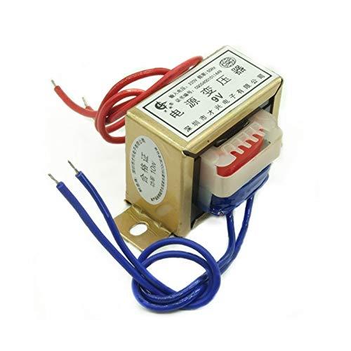 ZCX Zcxiong 10W EI48 Power Transformer Input AC 380V 220V a AC 6V 9V 12V 15V 18V 24V 220V Salida única/Doble Ferrita Tensión de núcleo de Cobre (Color : 220V Single V 2 Line, Output Voltage : AC9V)