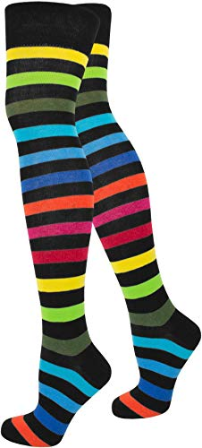 normani Top modische Damen Overknees in verschiedenen Designs/Baumwolle mit Elasthan Auswahl Farbe Regenbogen Größe OneSize