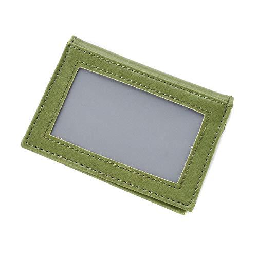 パスケース レディース メンズ シンプル 二つ折り レザー調 ICカード 定期入れ mlb 【5354】 (グリーン)