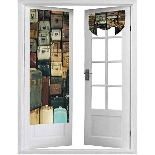 Cortina opaca para puertas francesas, colorida maleta vintage de cuero antiguo decorativo de viaje mapa nostalgia, 1 panel-66 x 172 cm Tricia cortina para puerta ventana, color marrón crema y verde