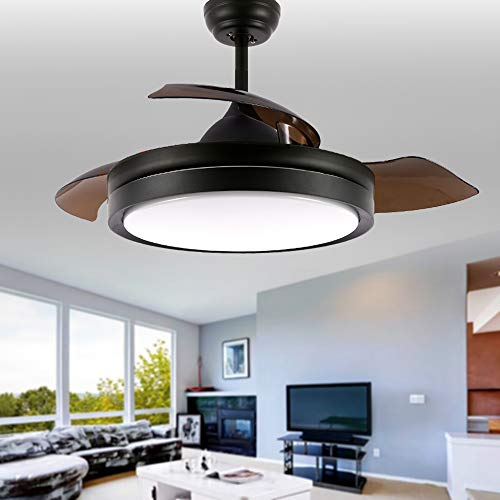 """Bella Depot Black Small Ceiling Fan with Lights LED Remote Control - 42"""" Foldable Ceiling fan for Indoor Living Room Dinner Room Bedroom, 2 Down-rods Included"""