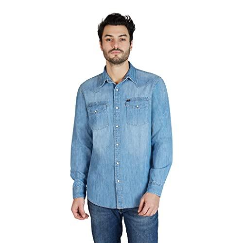 Lee Men's Long Sleeve Heritage Western Denim Shirt for Men, Light Wash, Large