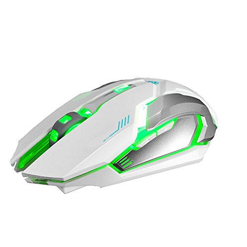 WFB Wireless Gaming Mouse, Silent Click Wireless Rechargeable Mouse with Colorful LED Lights and 3 Adjustable Levels Ergonomic Design for Laptop and Computer (White)