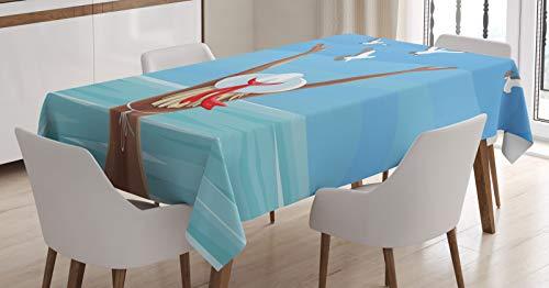 ABAKUHAUS Zomer Tafelkleed, Back View Meisje in een badpak, Eetkamer Keuken Rechthoekige tafelkleed, 140 x 240 cm, Pale Sky Blue Multicolor