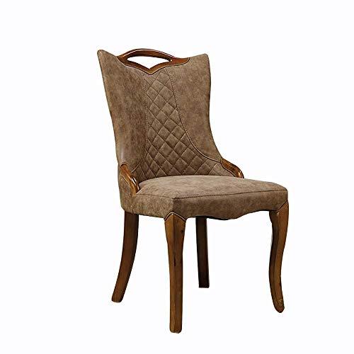 Accesorios de decoración Silla de comedor 2 sillas Comedor Mesa y sillas de hotel Silla Ocio moderno Marco de madera maciza Silla para comedor Sala de estar Cocina Dormitorio (Color: Marrón Tamaño: