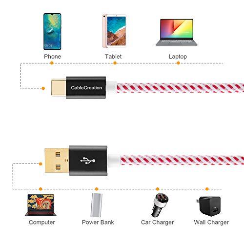 CableCreation USB C Kabel, Gen 2.0 Typ C auf Standard-USB-A-Stecker-Kabel, USB 3.1 Kabel,kompatible mit Chromebook Pixel und mehr, 0.8 Ft / 25cm Rot 56K Ohm Widerstand