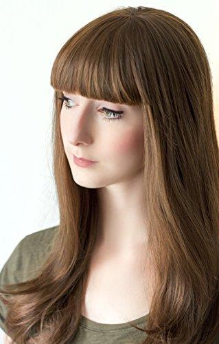 Prettyland C309-60cm Perruque brune volumineuse avec frange droite